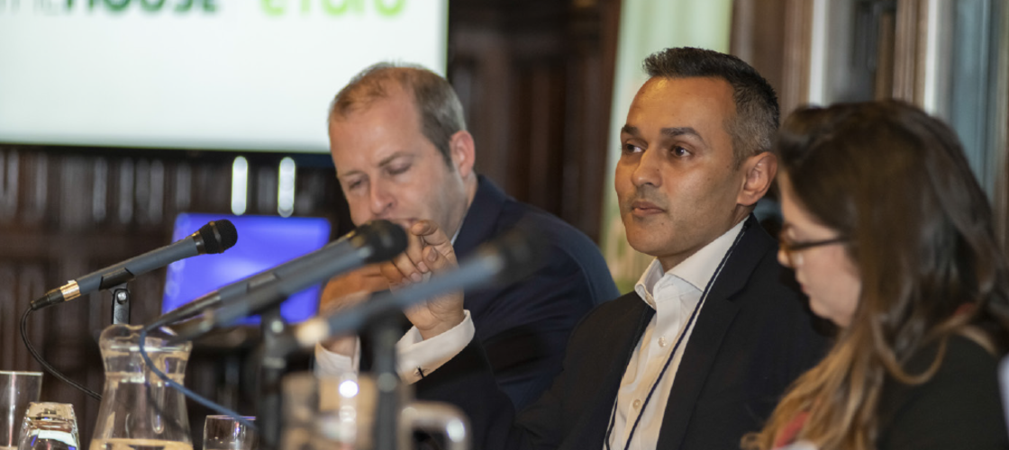 A picture of eToro's Iqbal V. Gandham at a parliamentary reception on cryptocurrencies