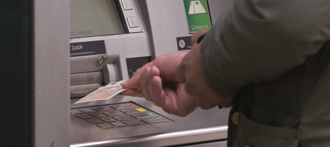 Person using a cash machine