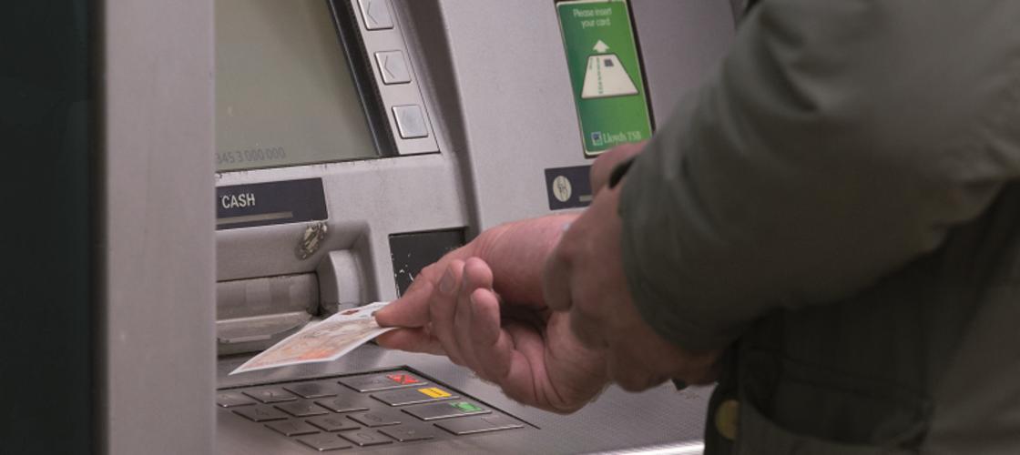 Customer at ATM