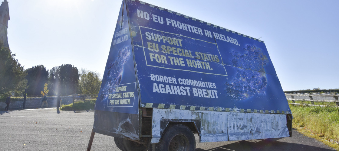 A protest hoarding close to the old Irish border.