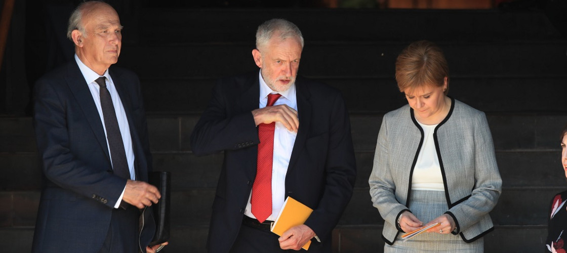 Vince Cable, Jeremy Corbyn and Nicola Sturgeon