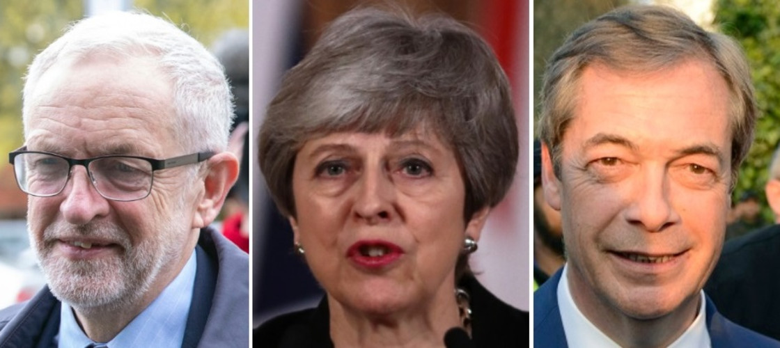 Jeremy Corbyn, Theresa May and Nigel Farage