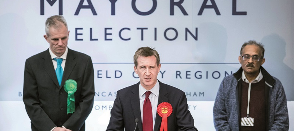 Dan Jarvis makes a speech after being elected as the Sheffield City Region Mayor