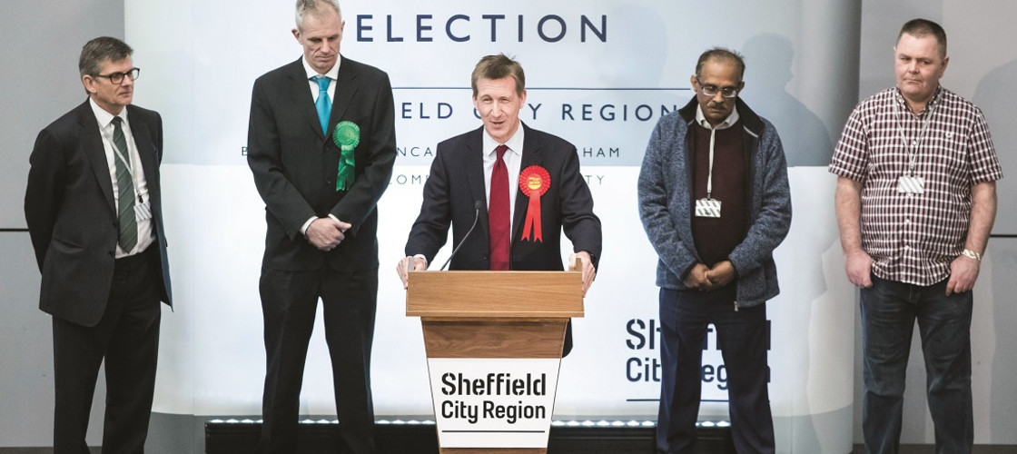 Dan Jarvis makes a speech after being elected as the Sheffield City Region Mayor (2018)