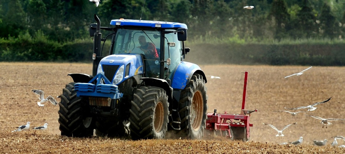 A tractor ploughing a field in Leicestershire