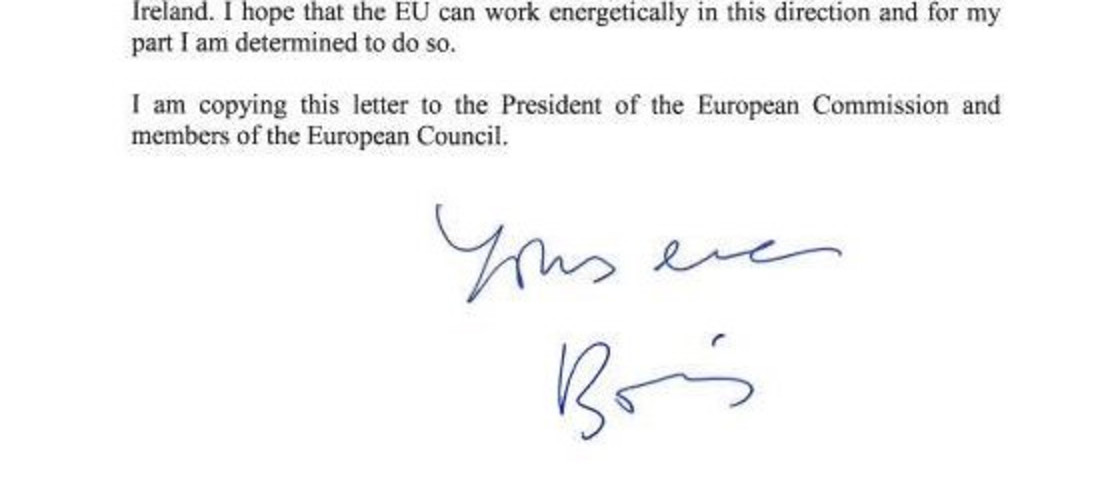 BORIS JOHNSON LETTER TO DONALD TUSK