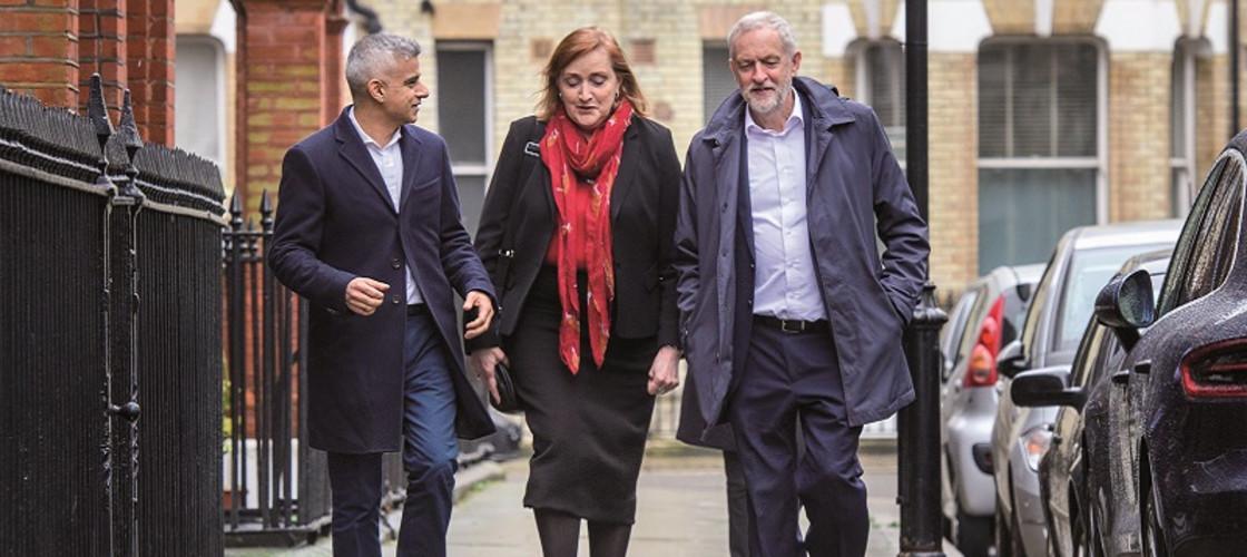 Emma Dent Coad with London Mayor Sadiq Khan and Labour leader Jeremy Corbyn