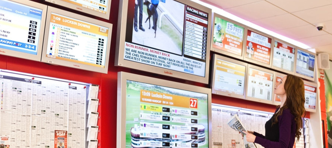 A person in a betting shop