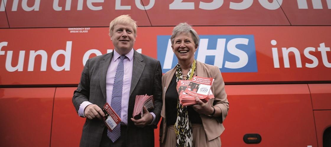 Gisela Stuart campaigning with Boris Johnson during the EU referendum