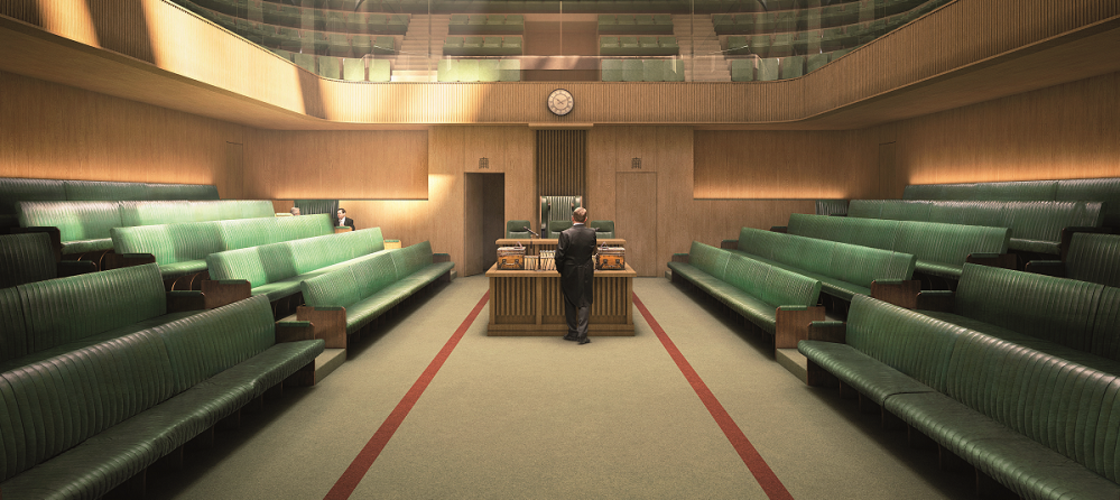 An indicative image of the temporary House of Commons Chamber