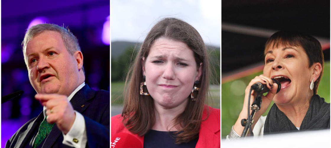 The SNP's Ian Blackford, Lib Dem leader Jo Swinson, and Green MP Caroline Lucas.
