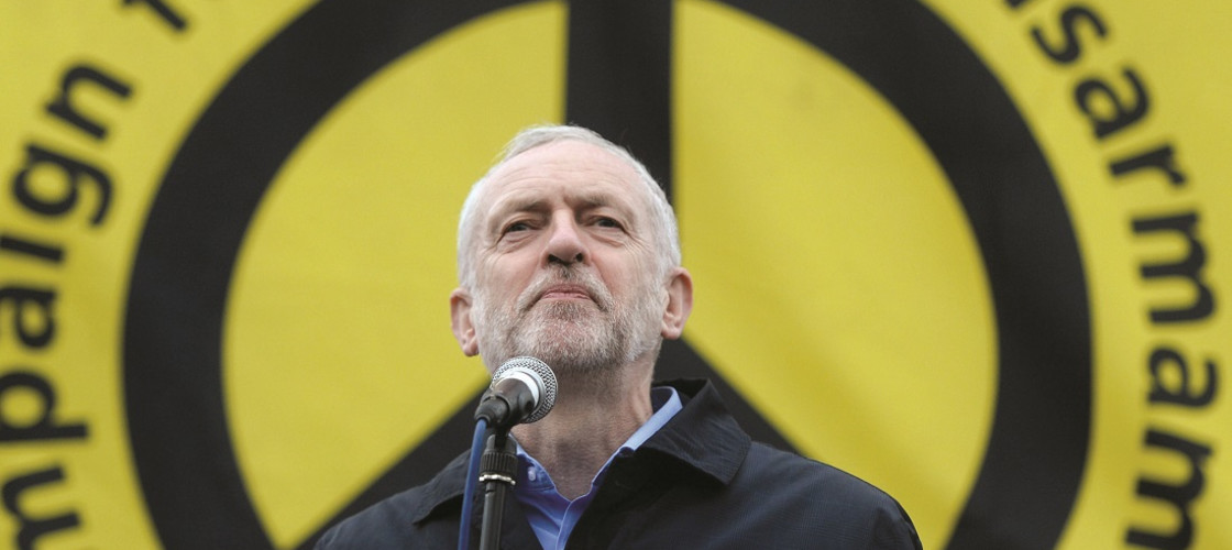 Labour leader Jeremy Corbyn, address protesters at a Stop Trident protest rally in Trafalgar Square, London (2016)