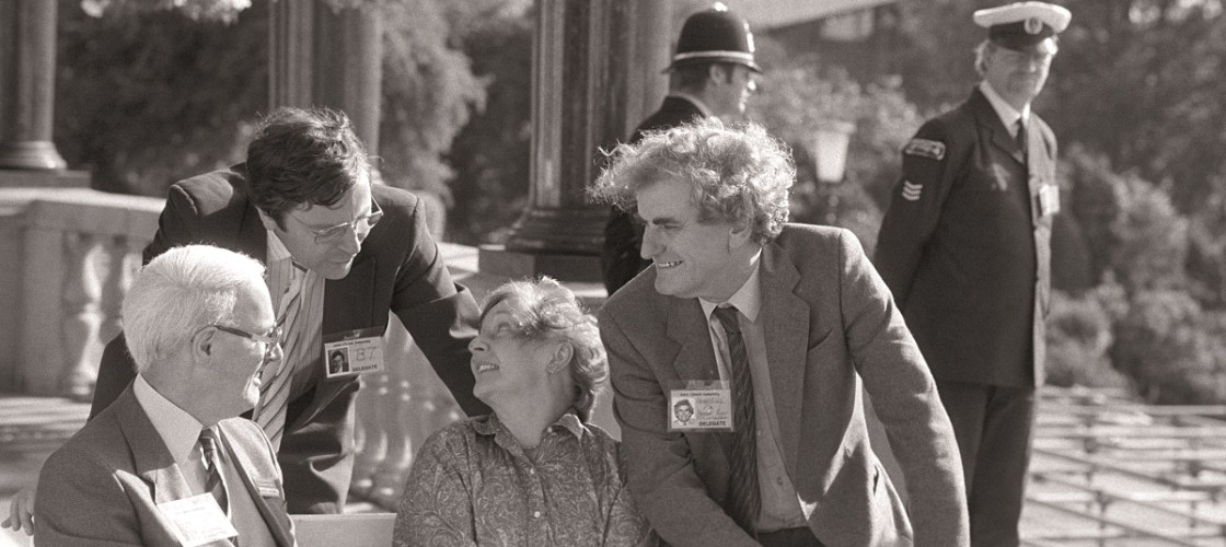 From left: Geoff Tordoff chats with Tim Clement-Jones, Shirley Williams and Adrian Slade, Harrogate, 1987