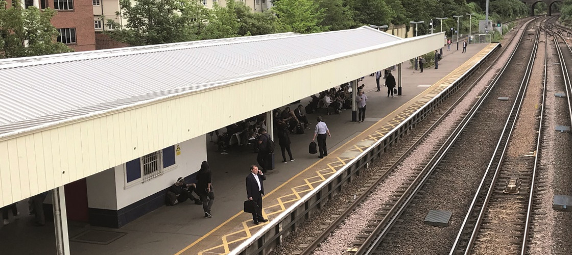 A platform at Surbiton train station in south-west London