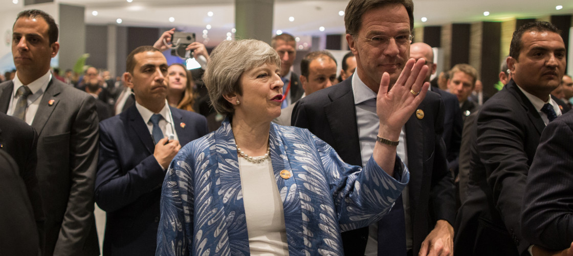 Theresa May and Dutch Prime Minister Mark Rutte
