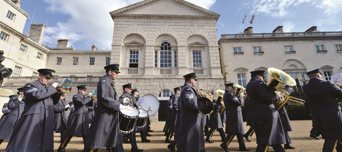 A band plays during a military Drumhead Service on Horse Guards Parade, London