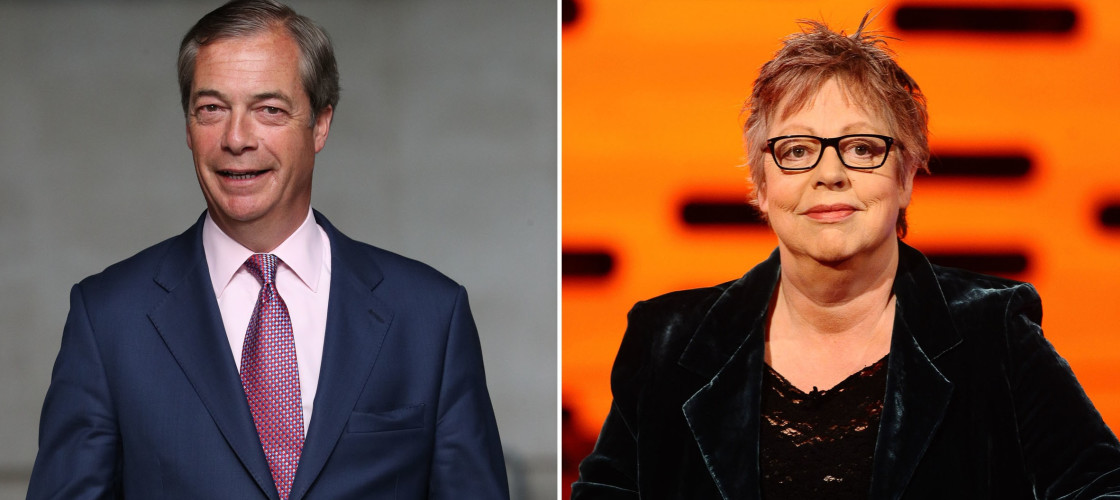 Nigel Farage and Jo Brand
