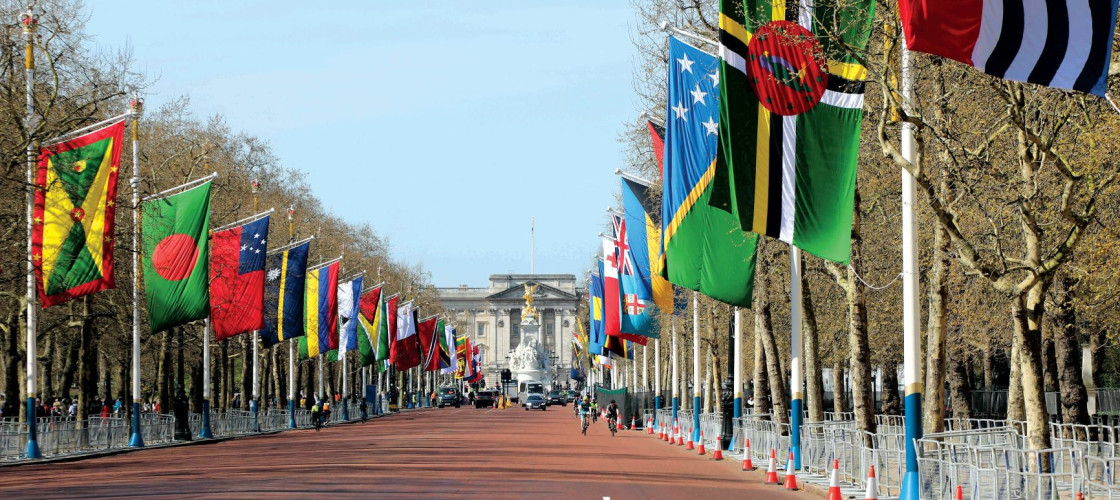 The flags of Commonwealth member states on display on The Mall in central London, with Buckingham Palace in the background
