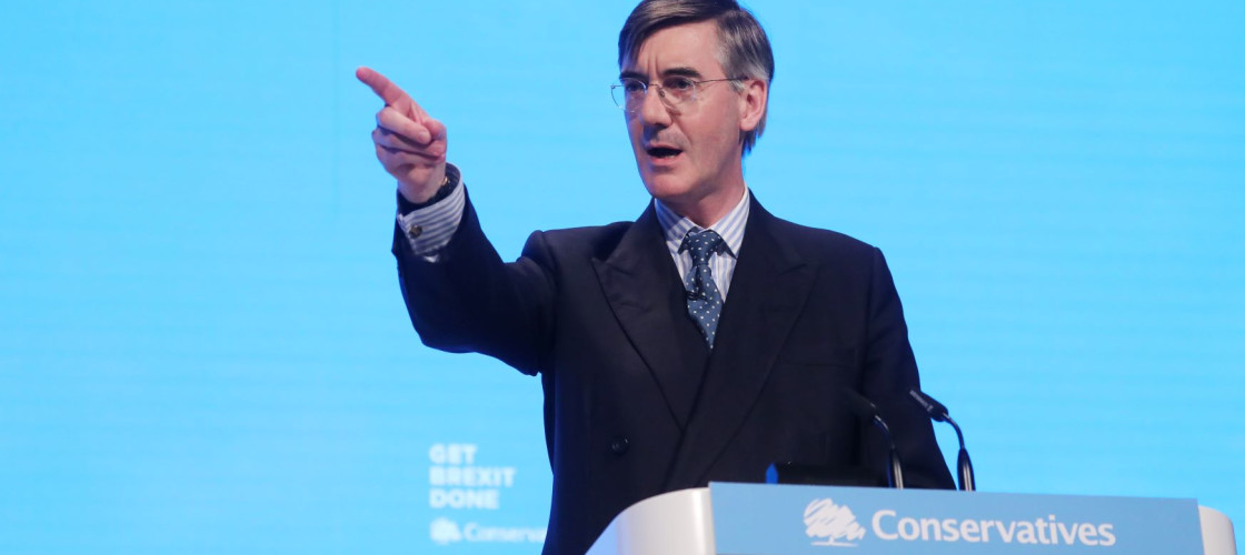"""Leader of the House of Commons Jacob Rees-Mogg delivers a speech during the """"Delivering Brexit"""" session on day one of the Conservative Party Conference 2019"""