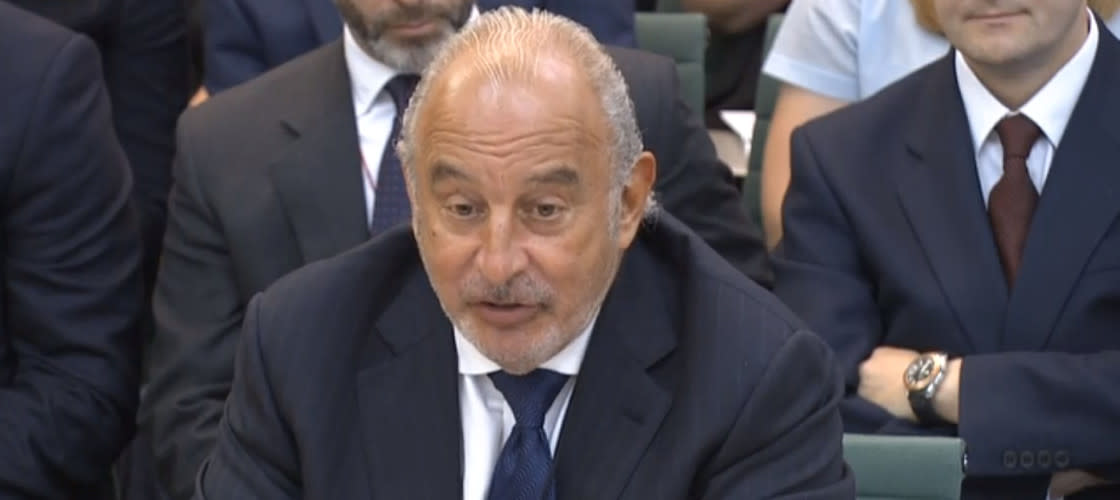 Retail tycoon Sir Philip Green before a parliamentary committee in 2016