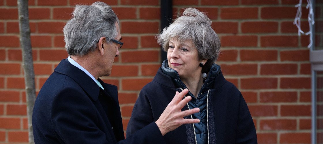 John Redwood on a constituency visit with Theresa May