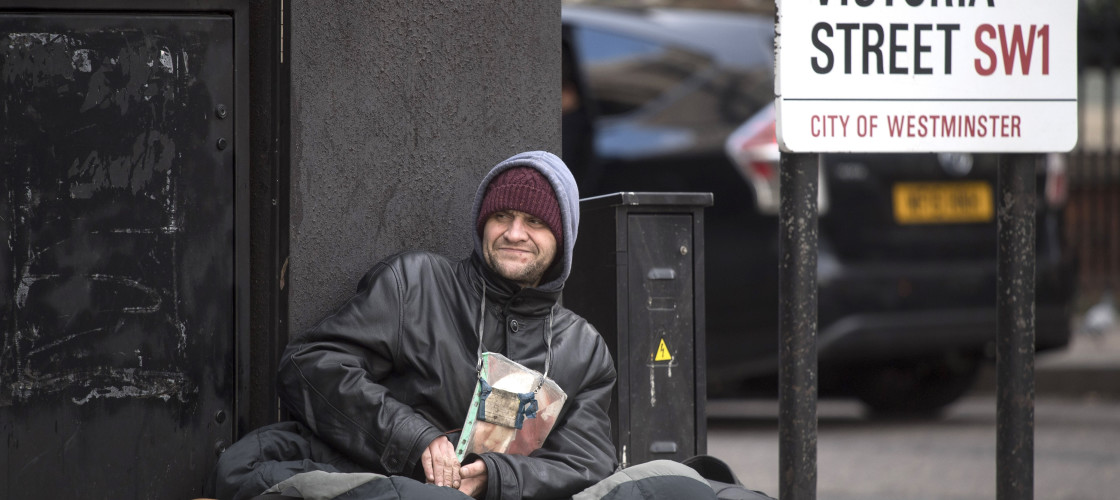 A homeless man pictured in Westminster.