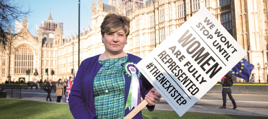 Labour Party 100 years of Women's Suffrage Campaign Shadow foreign secretary Emily Thornberry pictured as female members of the Shadow Cabinet and Labour politicians launch a campaign celebrating 100 years of women's suffrage