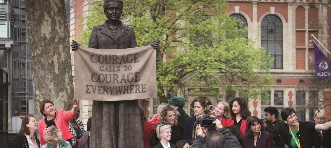 The unveiling of the statue of suffragist leader Millicent Fawcett
