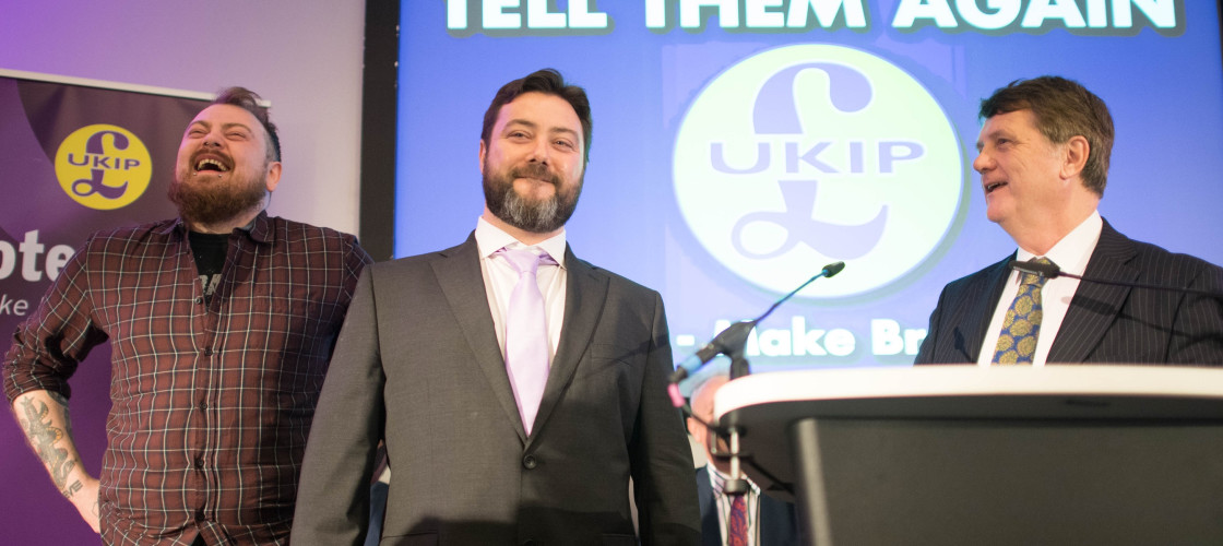 Carl Benjamin, centre, Gerard Batten, right.