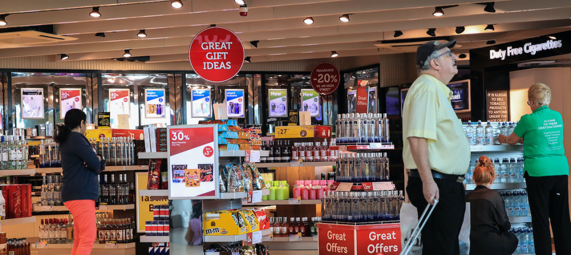 Duty-free shoppers at Manchester airport