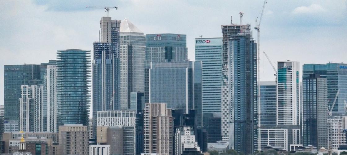 Panorama View Of Canary Wharf, London