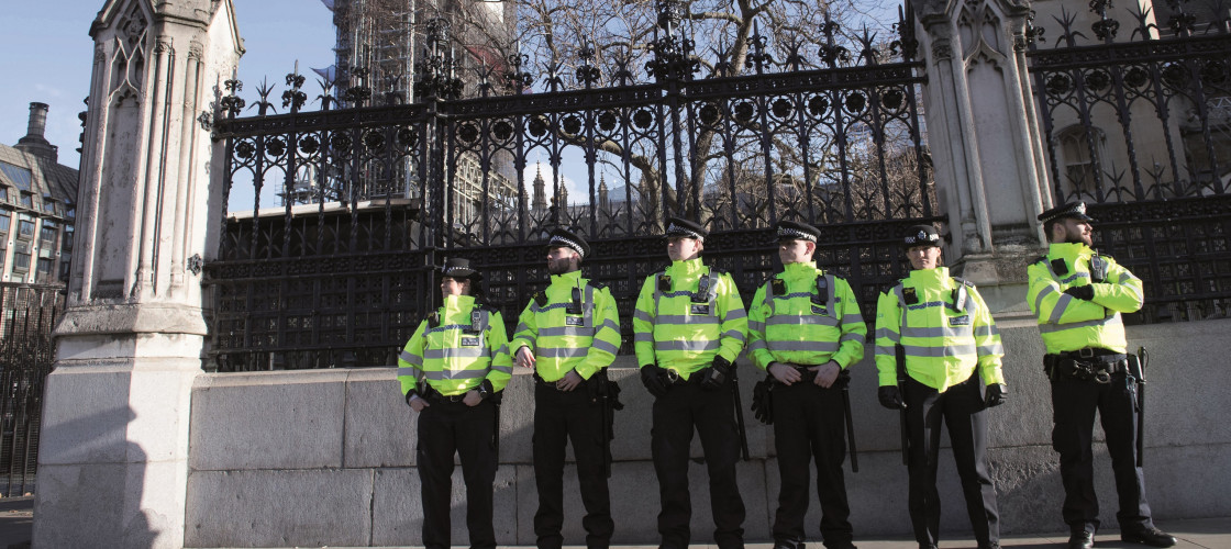Police officers outside Parliament