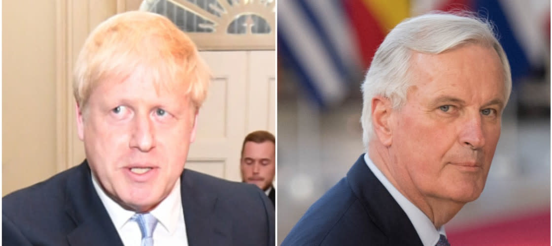 Michel Barnier and Boris Johnson