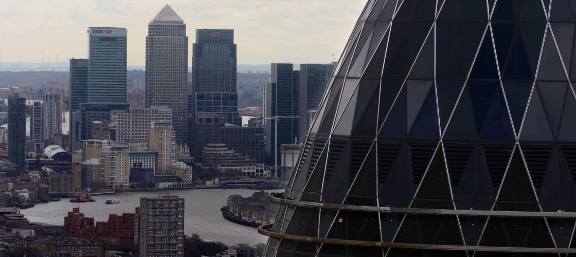 The London skyline as seen from Tower 42 with the 'Gherkin' (foreground), 30 St Mary Axe and Canary Wharf (background) prominent