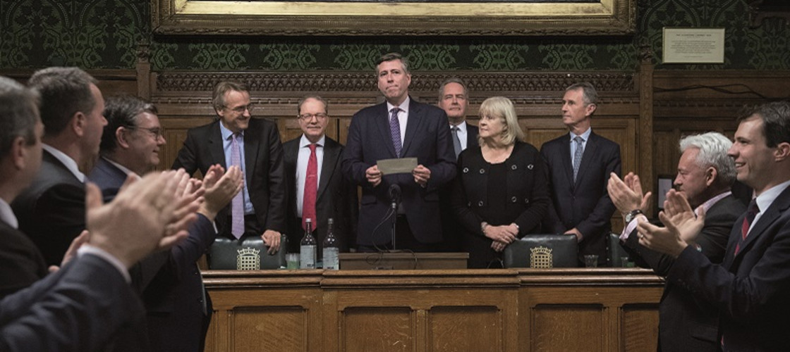Sir Graham Brady reading out the result of the no confidence vote in Theresa May