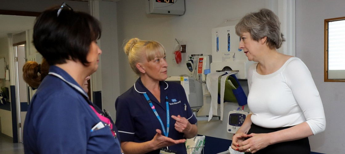 Theresa May at a hospital