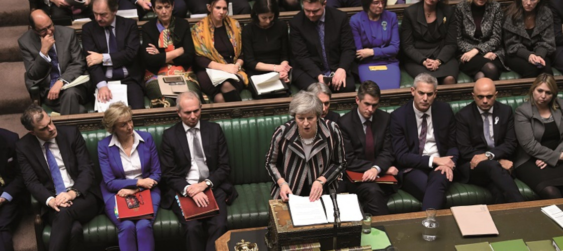 Theresa May delivering a statement in the Commons