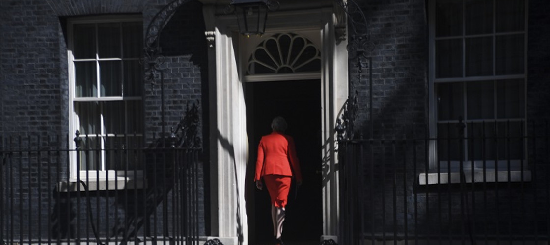 Theresa May after announcing the timetable for her resignation as prime minister