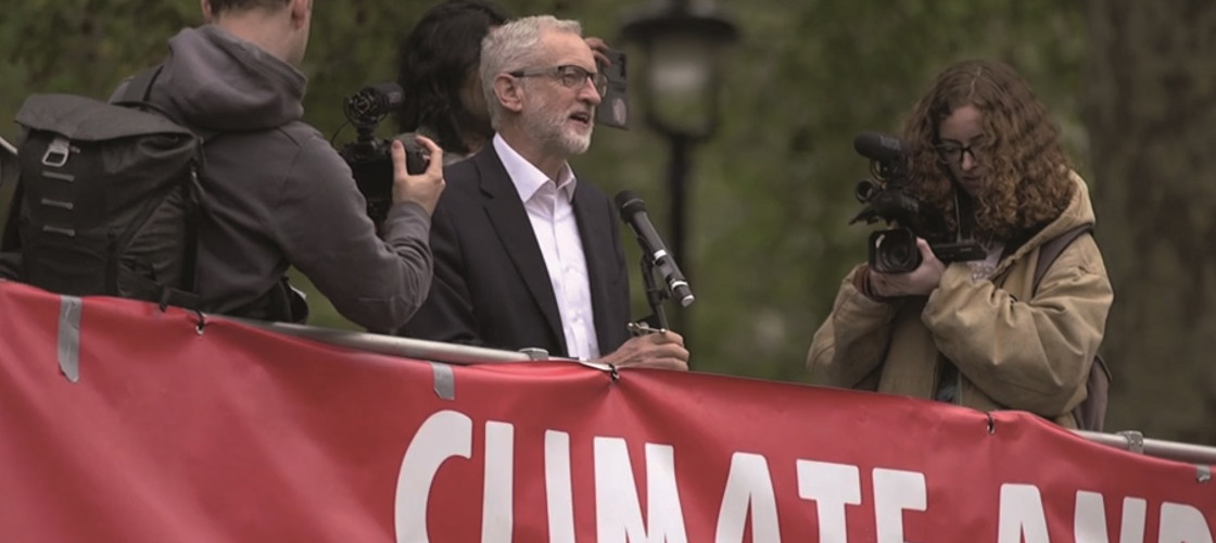Labour Party leader Jeremy Corby addressing protesters at Parliament Square, London.