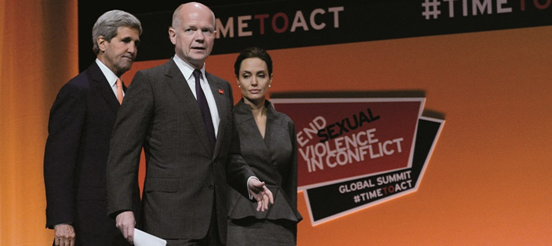 William Hague with John Kerry and Angelina Jolie