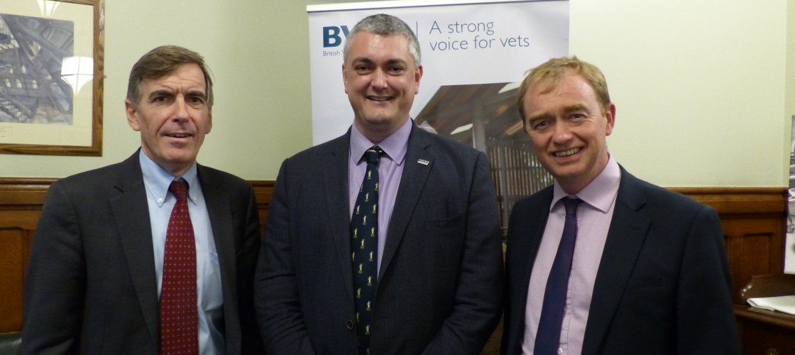 Defra minister David Rutley, BVA President Simon Docherty & Tim Farron MP