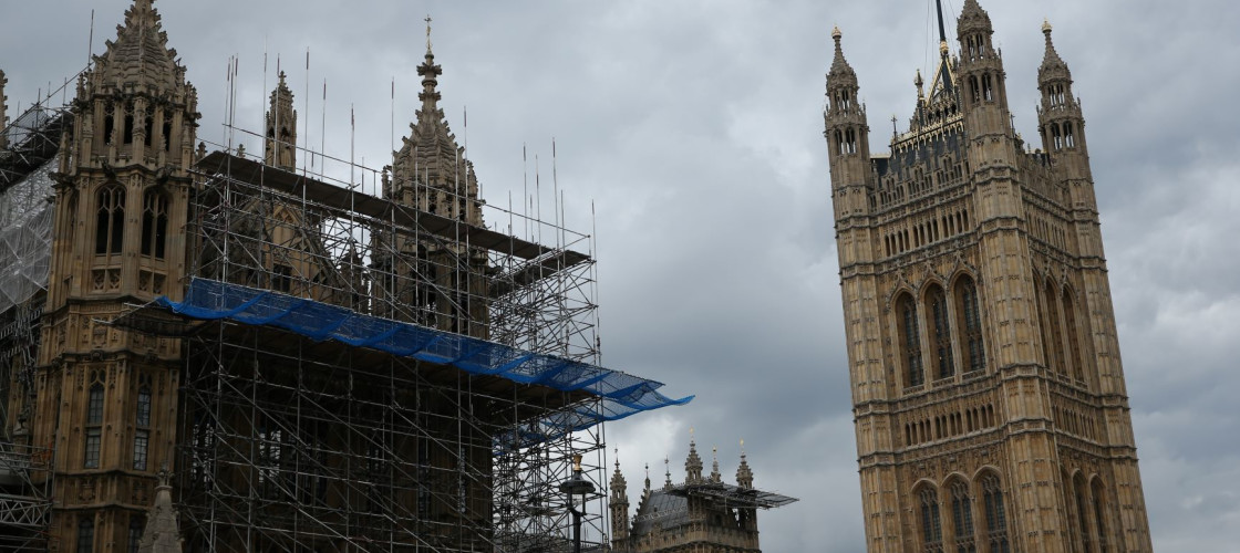 The Union flag flying above the Palace of Westminster, London