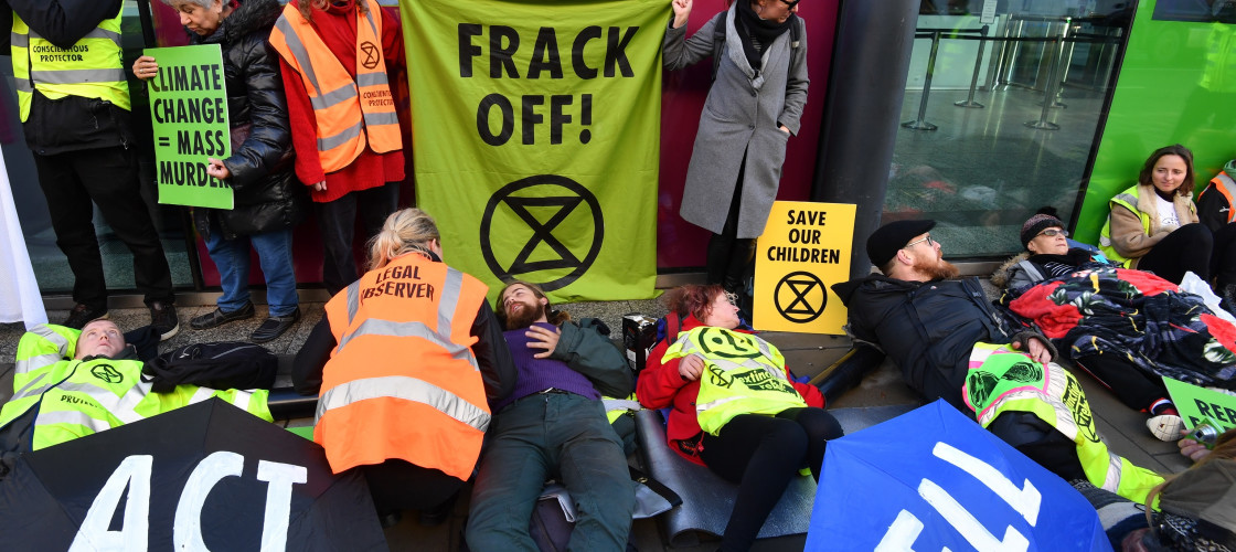 Activists from Extinction Rebellion stage an anti-fracking protest in Westminster
