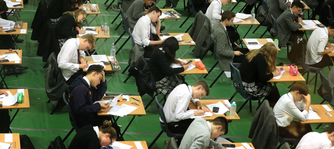School students sitting an exam