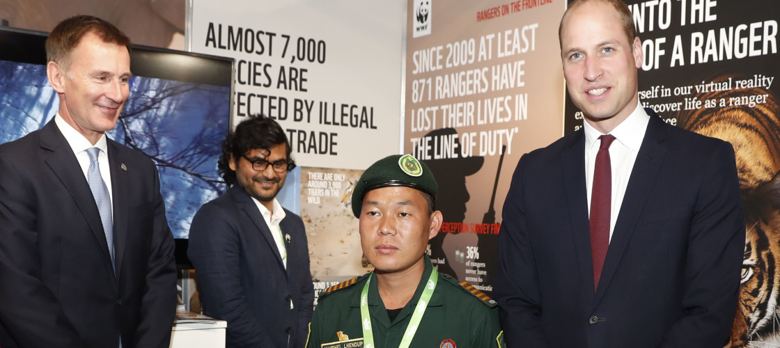 Foreign Secretary Jeremy Hunt and The Duke of Cambridge with Jampel Lhendup of the Royal Mamas National Park Bhutan at the 2018 Illegal Wildlife Trade Conference