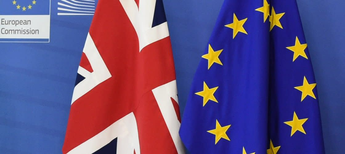 European Union and UK flags