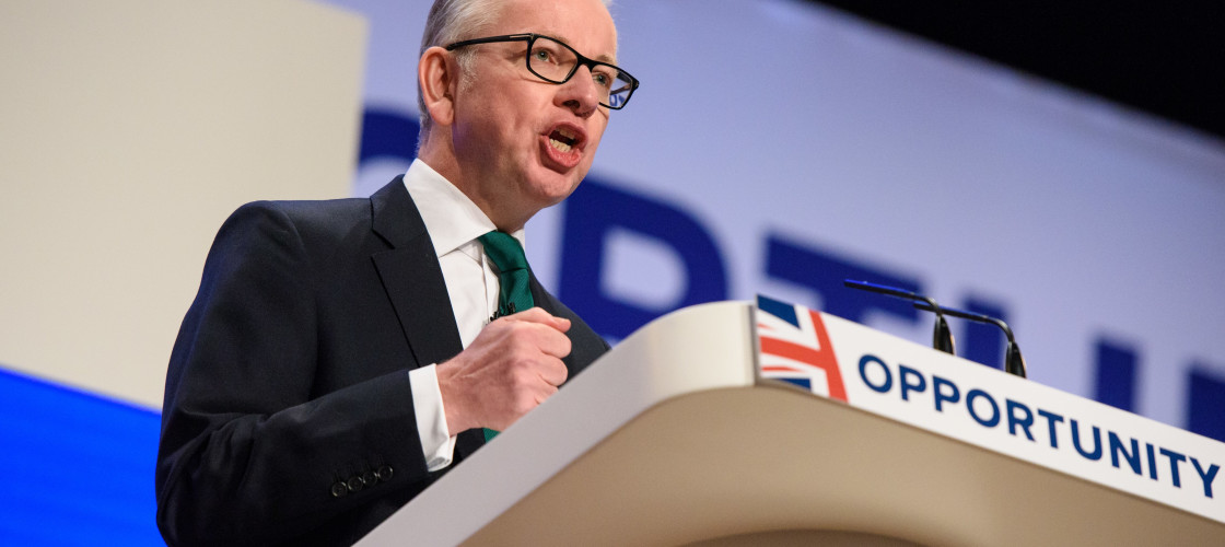 Michael Gove, Secretary of State for Environment, Food and Rural Affairs, speaks during the Conservative Party annual conference
