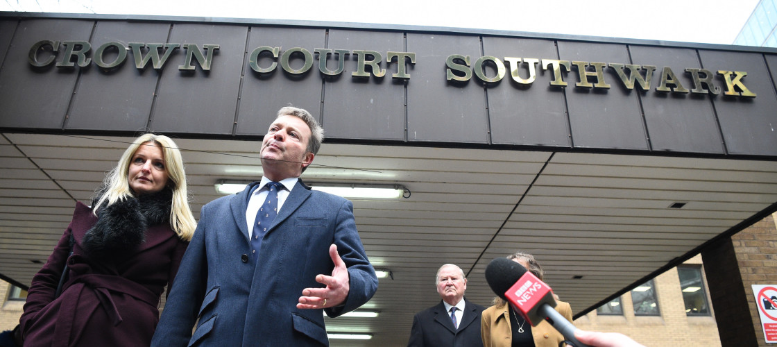 Conservative MP Craig Mackinlay with his wife Kati outside London's Southwark Crown Court after he was cleared of breaking electoral expenses rules in his 2015 general election campaign against then-Ukip leader Nigel Farage.