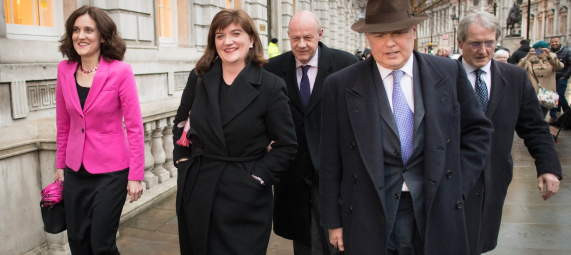 (left to right) Theresa Villiers, Nicky Morgan, Damian Green, Iain Duncan Smith and Owen Paterson leave the Cabinet Office in Westminster, London after a meeting of the Alternative Arrangements Working Group (AAWG) to examine the feasibility of the so-cal