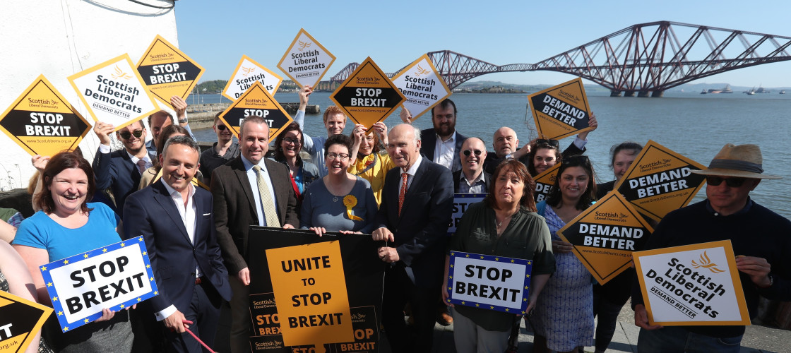 Liberal Democrat leader Vince Cable with supporters whilst on the election campaign trail for the European election in South Queensferry.